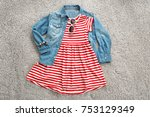 stylish baby dress and... | Shutterstock . vector #753129349