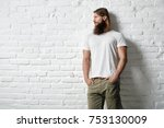 trendy young bearded man in... | Shutterstock . vector #753130009