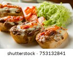 baguette with tomato sauce and... | Shutterstock . vector #753132841