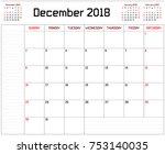 year 2018 december planner   a... | Shutterstock .eps vector #753140035