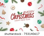 christmas flat lay design with... | Shutterstock .eps vector #753140617