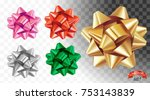 set of decorative glossy gold... | Shutterstock .eps vector #753143839