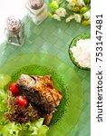 grilled saba fish with teriyaki ... | Shutterstock . vector #753147481