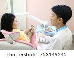 dentist conversation patient...   Shutterstock . vector #753149245