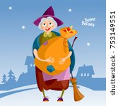 befana. old woman with bag of... | Shutterstock .eps vector #753149551