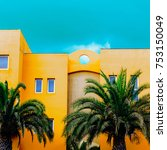 the palms. tropical location.... | Shutterstock . vector #753150049