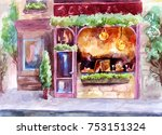 showcase of a cafe or... | Shutterstock . vector #753151324