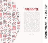 firefighter concept with thin... | Shutterstock .eps vector #753151759