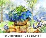 blooming garden  watercolor... | Shutterstock . vector #753153454