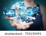 tech devices connected to each... | Shutterstock . vector #753155491