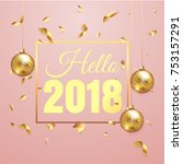 premium luxury hello 2018 new... | Shutterstock .eps vector #753157291