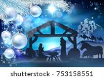 nativity christmas illustration ... | Shutterstock . vector #753158551