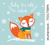 christmas greeting card with... | Shutterstock .eps vector #753175894