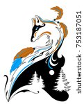 tattoo style fox with feather... | Shutterstock .eps vector #753187051