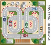 race track with cars.  view... | Shutterstock .eps vector #753187237