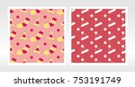 christmas wrapping paper set.... | Shutterstock .eps vector #753191749