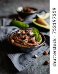 raw avocado chocolate mousse... | Shutterstock . vector #753197359