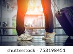 woman standing to kiss... | Shutterstock . vector #753198451
