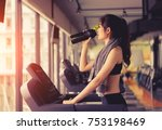 exercise treadmill cardio... | Shutterstock . vector #753198469