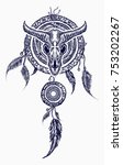 Bison skull and indian dream catcher tattoo. Tribal art. Native american culture. Wild west western symbols. Bull skull tribal style tattoo and t-shirt design