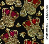 embroidery golden crown and... | Shutterstock .eps vector #753203209