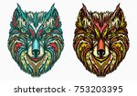 ornamental wolf head tattoo and ...   Shutterstock .eps vector #753203395
