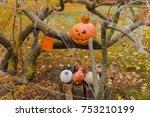 pumpkin  autumn leaves and... | Shutterstock . vector #753210199