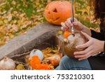 preparations to halloween.... | Shutterstock . vector #753210301