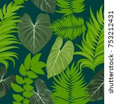 seamless pattern of tropical... | Shutterstock .eps vector #753212431