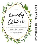 vector wedding invite... | Shutterstock .eps vector #753214795