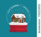 snow globe gift or souvenir... | Shutterstock .eps vector #753223351