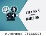 'thanks for watching' title... | Shutterstock .eps vector #753223375