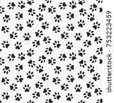 dog paw print vector seamless... | Shutterstock .eps vector #753223459
