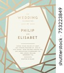 golden wedding invitation with... | Shutterstock .eps vector #753223849