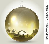 christmas ball with nativity... | Shutterstock .eps vector #753225037