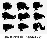 Set Of Silhouettes Of A Profil...