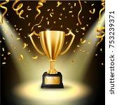 realistic golden trophy... | Shutterstock .eps vector #753239371