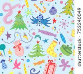 seamless pattern of hand drawn... | Shutterstock .eps vector #753240049
