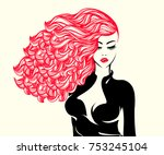 beautiful woman with long ... | Shutterstock .eps vector #753245104
