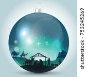 christmas ball with nativity... | Shutterstock .eps vector #753245269