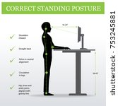 ergonomic. correct standing...   Shutterstock .eps vector #753245881