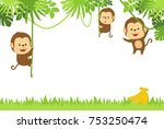 jungle background with monkey | Shutterstock .eps vector #753250474