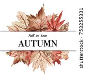 maple leaves with red cherry...   Shutterstock . vector #753255331