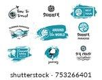 travel around the world. summer ... | Shutterstock .eps vector #753266401