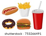 fast food. colored cartoon... | Shutterstock .eps vector #753266491