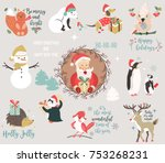 big holiday set with funny... | Shutterstock .eps vector #753268231