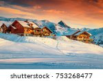 amazing winter sunset landscape ... | Shutterstock . vector #753268477