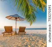 beach scene with loungers in a... | Shutterstock . vector #753270391
