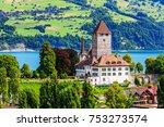 spiez  switzerland. spiez... | Shutterstock . vector #753273574