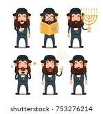 set of cartoon jews. vector... | Shutterstock .eps vector #753276214